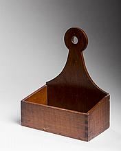 MAPLE HANGING WALL BOX WITH SHAPED BACK, POSSIBLY SHAKER.