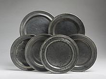 SIX AMERICAN PEWTER PLATES INCLUDING EXAMPLES BY FREDERICK BASSETT AND THOMAS DANFORTH, JACOB WHITMORE AND JOSEPH DANFORTH.