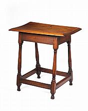 NEW ENGLAND WILLIAM AND MARY BIRCH AND STAINED-MAPLE TAVERN TABLE.