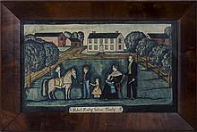 THE ROBERT HANLEY GIBSON FAMILY DEPICTED IN FRONT OF THEIR HOMESTEAD AND FARM BUILDINGS, 1839.