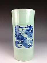 19C Chinese celadon with panels of blue & white  porcelain vase