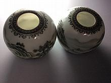 Pair of elegant Chinese porcelain pots, landscaping painting with under glazed red, marked