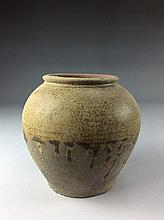 Vintage Chinese porcelain pot, brown glazed