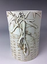 Fine Chinese White glazed porcelain brush pot, carved and marked.