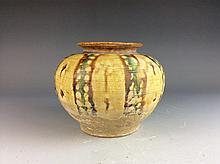 Chinese Tang style porcelain pot, Sancai glazed