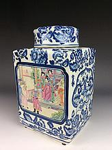 Chinese porcelain pot, famille rose on blue & white  glaze, marked