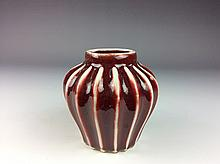 Chinese porcelain small pot, red glaze,