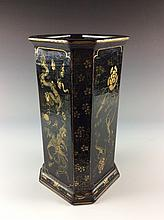 Vintage Chinese Lacquer Square Pot Painted with Dragon & Phoenix