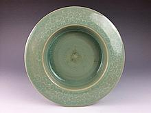 Vintage Chinese celedon porcelain plate