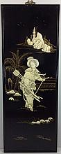 Chinese black lacquer panel with figure