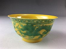 Rare Chinese Porcelain Bowl, yellow ground, decorated with green dragon, Marked