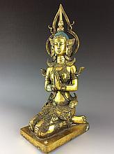 Fine south asia glit bronze buddha