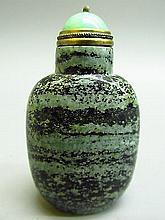 Chinese Green and Black Jasper Snuff Bottle