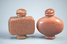Pair of Vintage Chinese Gold Star Stone Snuff Bottles