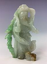 Fine Chinese  three color jadeite carved old man with hat