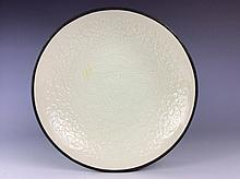 Fine Chinese  Ding style porcelain plate, white glaze, decorated
