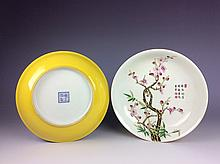 Fine pair of Chinese porcelain plates, famille rose with yellow glazed, decorated  & marked
