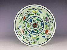 Chinese porcelain plate, Doucai glazed, decorated with marked