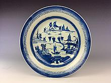 Chinese blue and white export porcelain plate with landscaping.