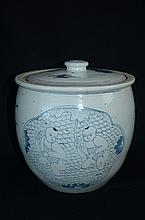 Vintage Ming or later Chinese blue and white porcelain jar with cover
