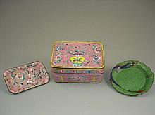 3 pcs of Chinese cloisonne box and dishes