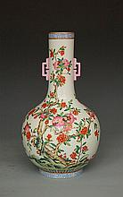 Fine Chinese famille rose vase, marked