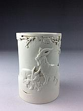 Fine Chinese white glazed porcelain brush pot, marked
