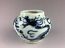 Chinese B/W Porcelain Dragon Pot