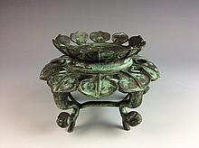 Vintage archaic Chinese Bronze Stand with Lotus design