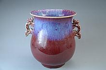 18C Rare Chinese flambe glaze pot