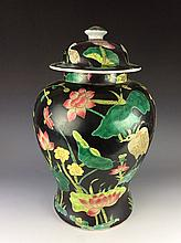 19C Rare Chinese balck ground with famille rose lotus decorated.