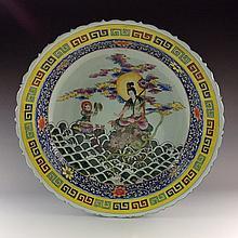 Large Rare Chinese Famillie Rose Porcelain Plate with Bodhisattva