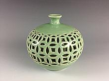 Chinese Green Glaze Porcelain Pot with Enchased Outer