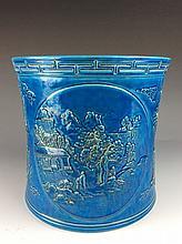 Rare large Chinese turquoise glazed porcelain brush pot, marked