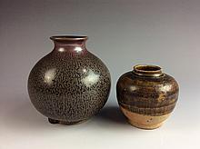 2 Pics Chinese Brown Glaze Porcleian Pots
