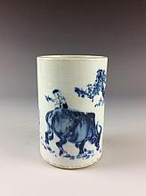 Chinese B/W Porcelain Brush Pot