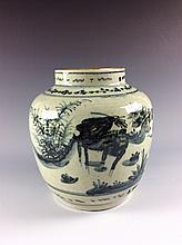 Vintage Chinese B/W Porcelain Pot