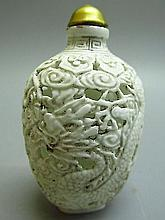 Chinese White Porcelain Carved Dragon & Phoenix Pattern Snuff Bottle