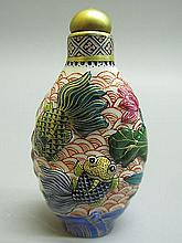 Chinese Polychrome Porcelain Carved Goldfish Pattern Snuff Bottle