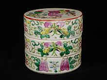 Chinese Famille Rose Tiered Porcelain Box