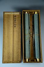 Two japanese Hand painted,  Hanging scroll, with box