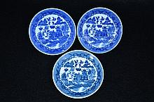 3 Pics Chinese Export B/W Kraak Saucers