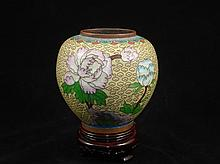 Chinese cloisonne pot, copper base