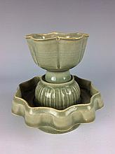 Chinese Longquan celadon cup with stand