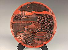 Chienese cinnabar lacquer-style plate, marked
