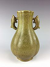 Fine Chinese tea dust glazed porcelain vase