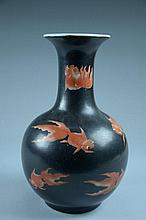 Fine Chinese black base, decorated with underglazed red gold fish