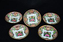 Set of 5 Chinese Export Famille Rose plates