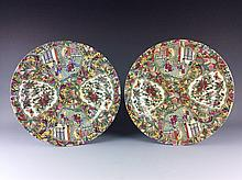 19 C a pair of export Chinese famille rose porcelane plates