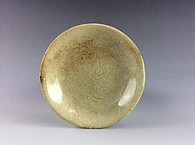 Vintage possible 15C Ming period Chinese white glazed dish, carved